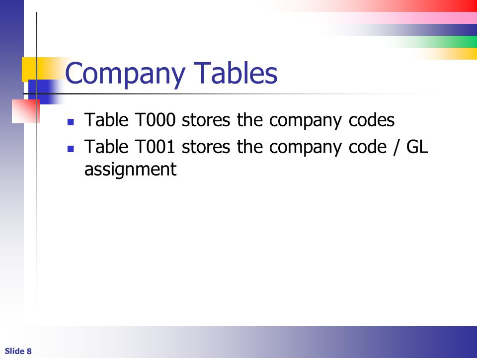Company Tables Table T000 stores the company codes