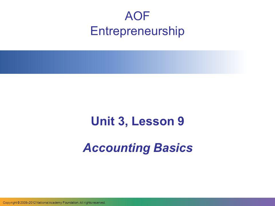 Unit 3, Lesson 9 Accounting Basics