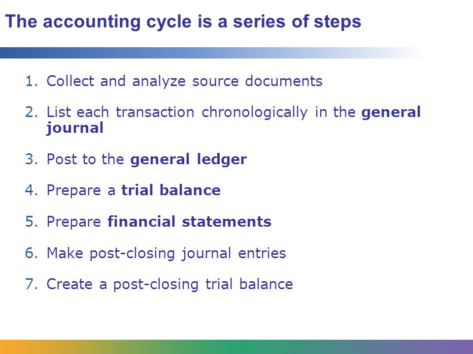 The accounting cycle is a series of steps