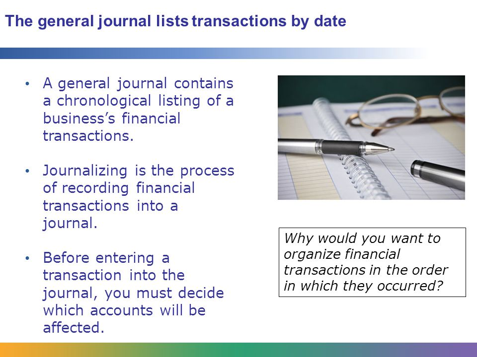 The general journal lists transactions by date
