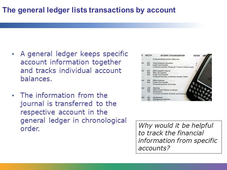 The general ledger lists transactions by account