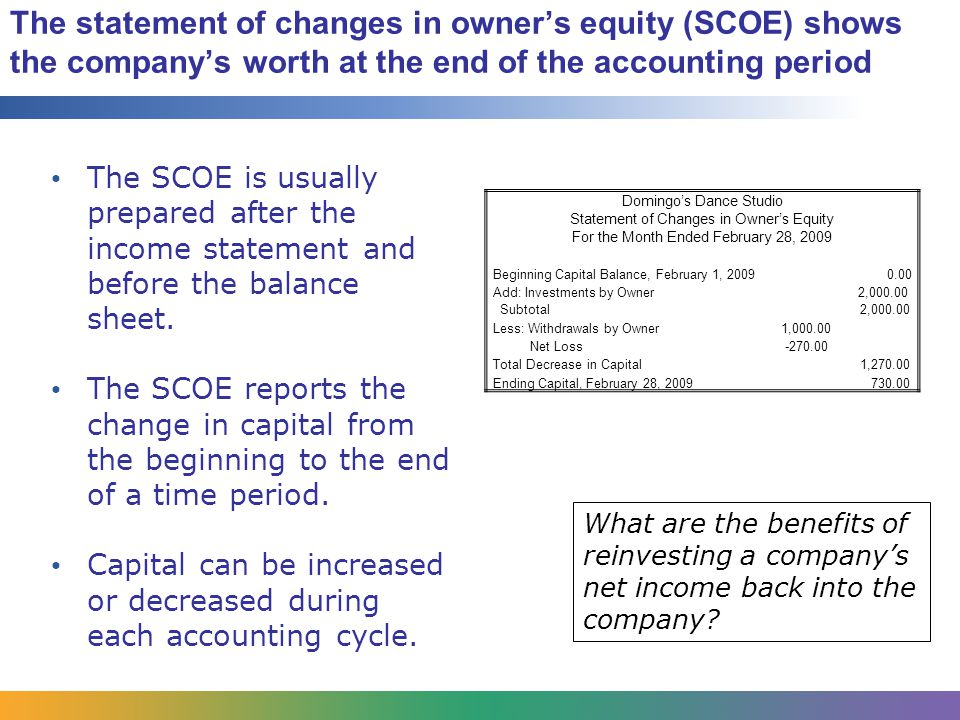 The statement of changes in owner's equity (SCOE) shows the company's worth at the end of the accounting period