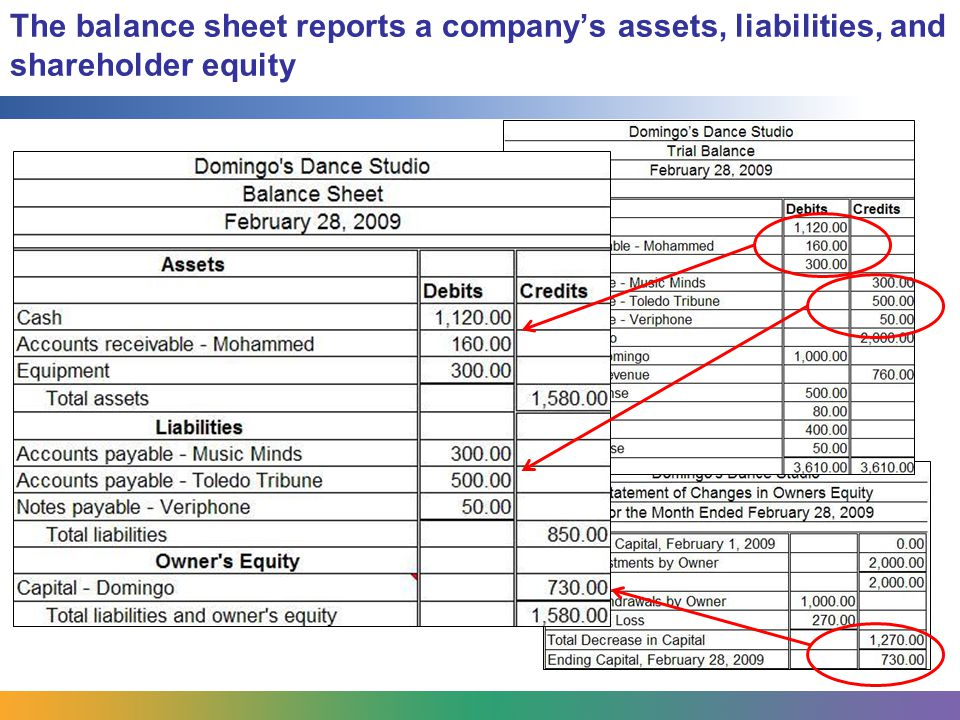 The balance sheet reports a company's assets, liabilities, and shareholder equity