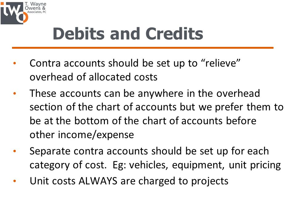 Debits and Credits Contra accounts should be set up to relieve overhead of allocated costs.