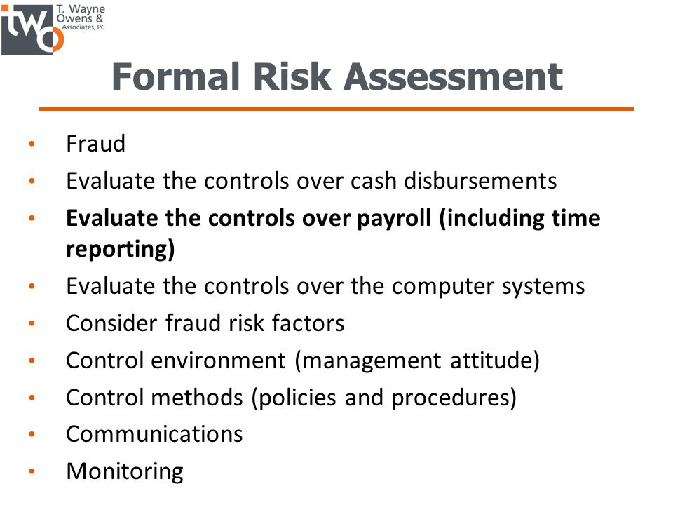 Formal Risk Assessment