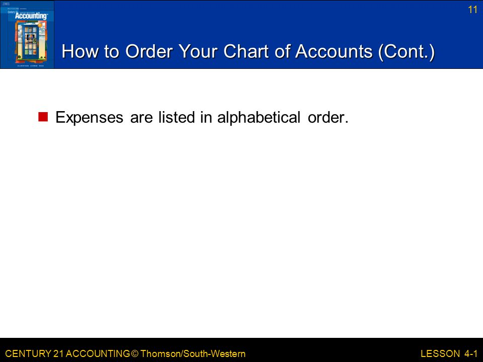How to Order Your Chart of Accounts (Cont.)