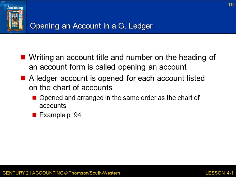 Opening an Account in a G. Ledger