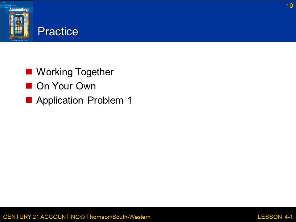 Practice Working Together On Your Own Application Problem 1 LESSON 4-1