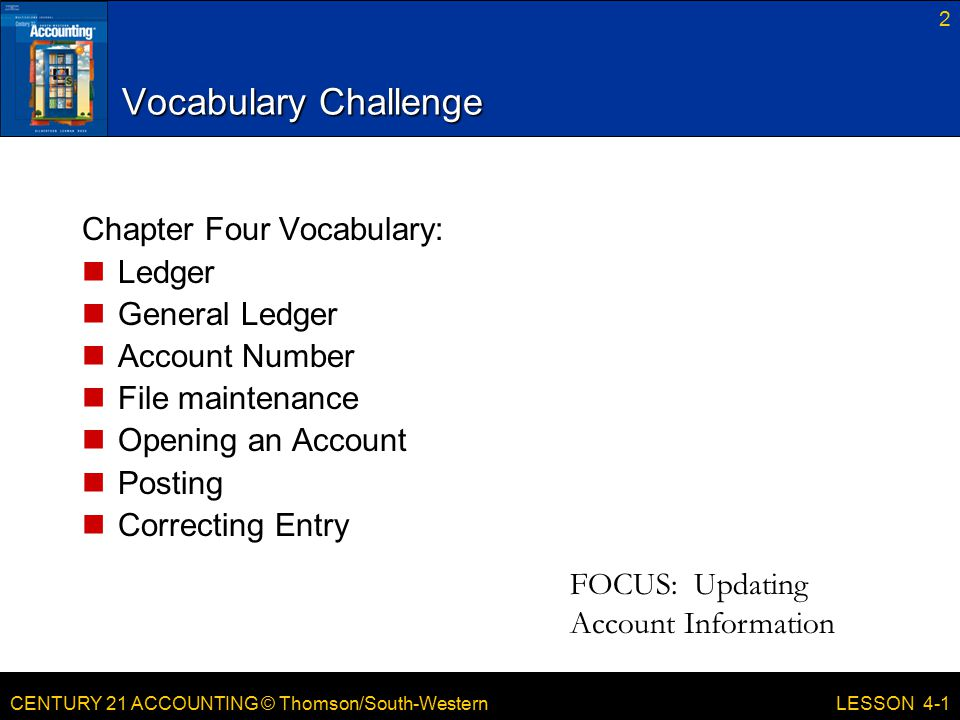 Vocabulary Challenge Chapter Four Vocabulary: Ledger General Ledger