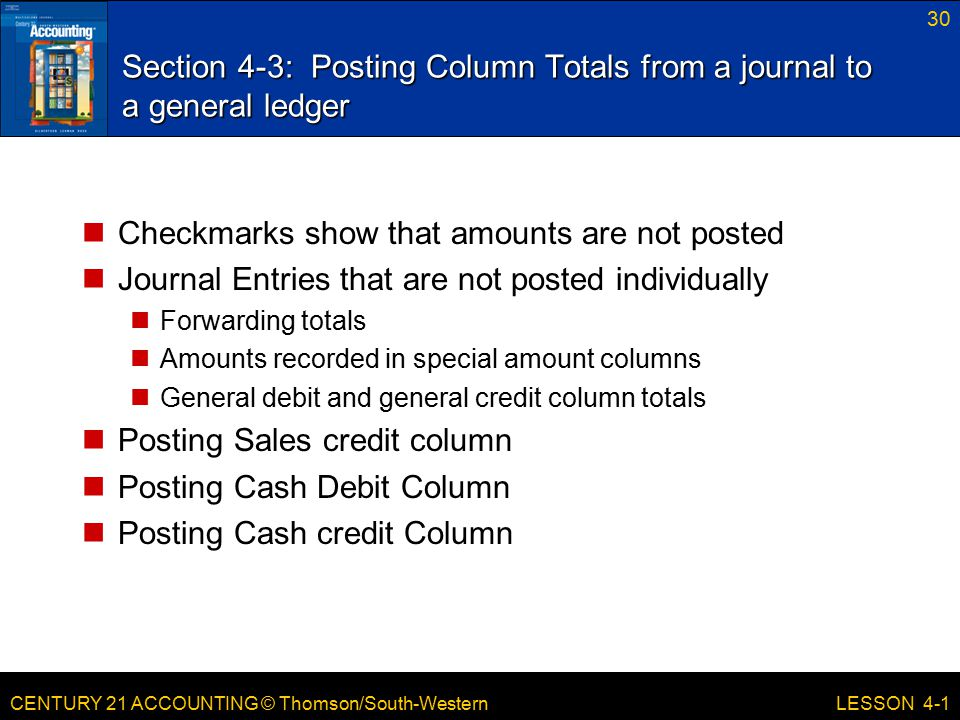 Section 4-3: Posting Column Totals from a journal to a general ledger