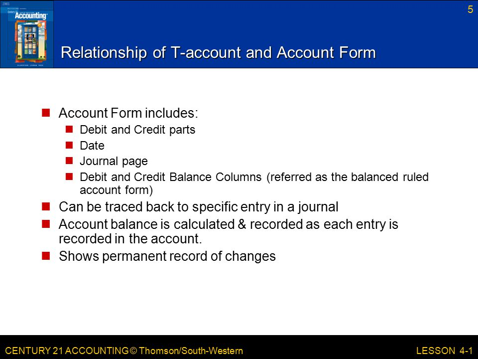 Relationship of T-account and Account Form