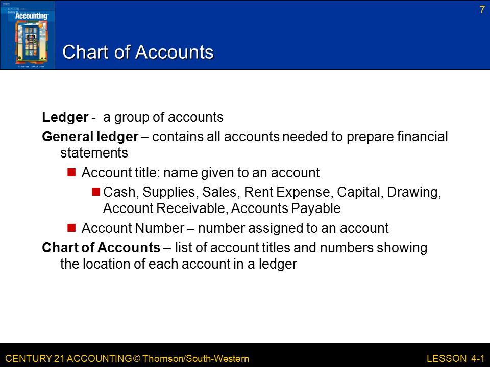Chart of Accounts Ledger - a group of accounts