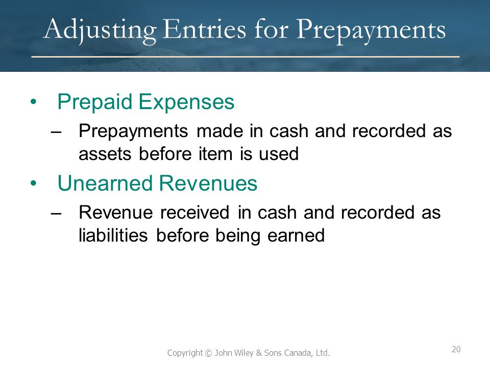 Adjusting Entries for Prepayments