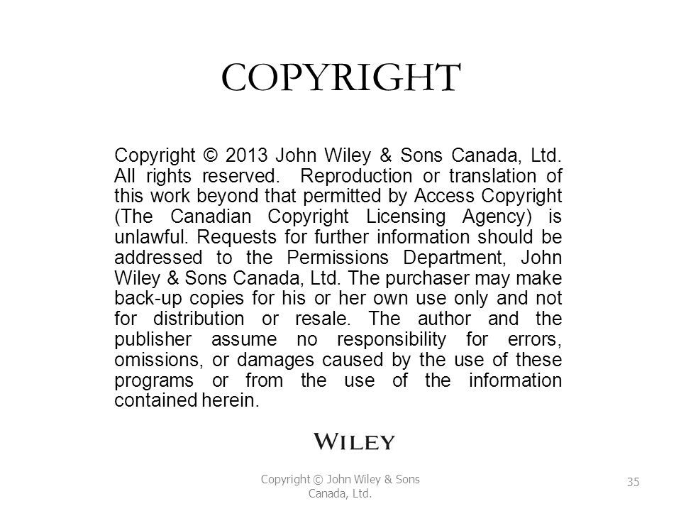 Copyright © John Wiley & Sons Canada, Ltd.