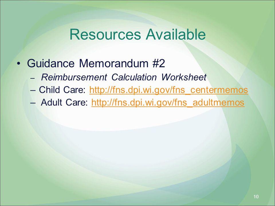 Resources Available Guidance Memorandum #2