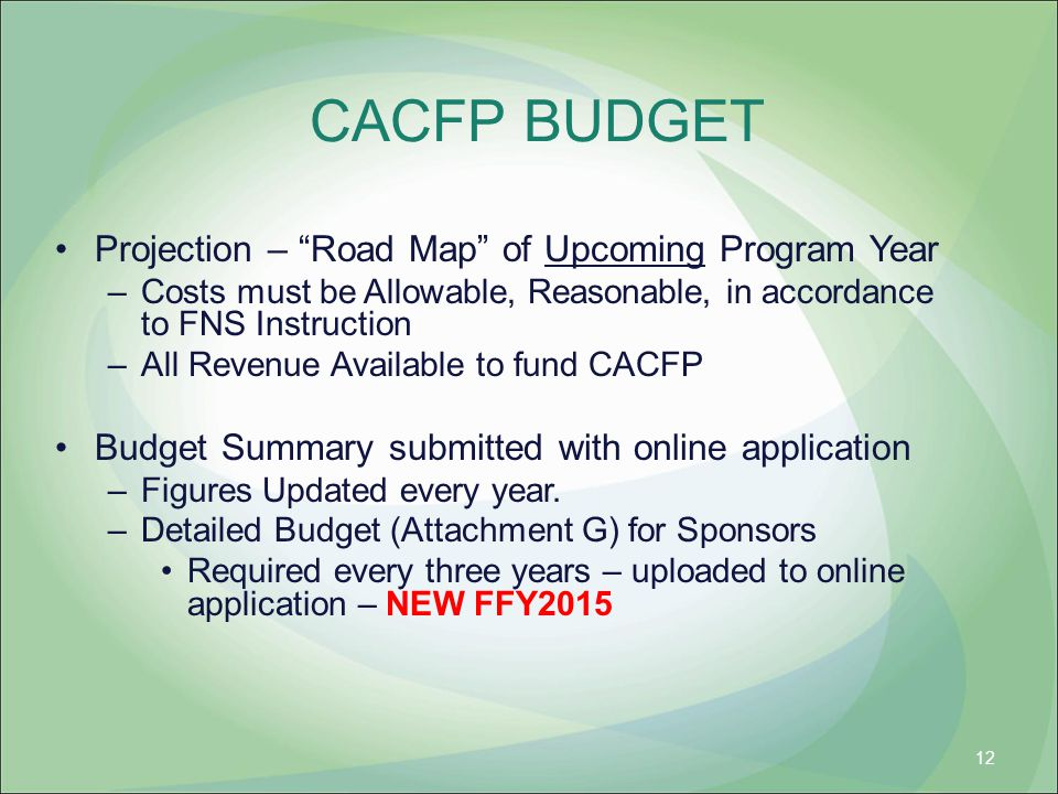 CACFP BUDGET Projection – Road Map of Upcoming Program Year