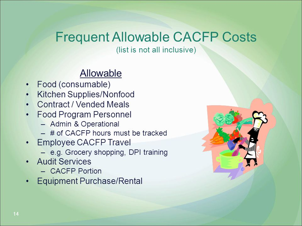 Frequent Allowable CACFP Costs (list is not all inclusive)