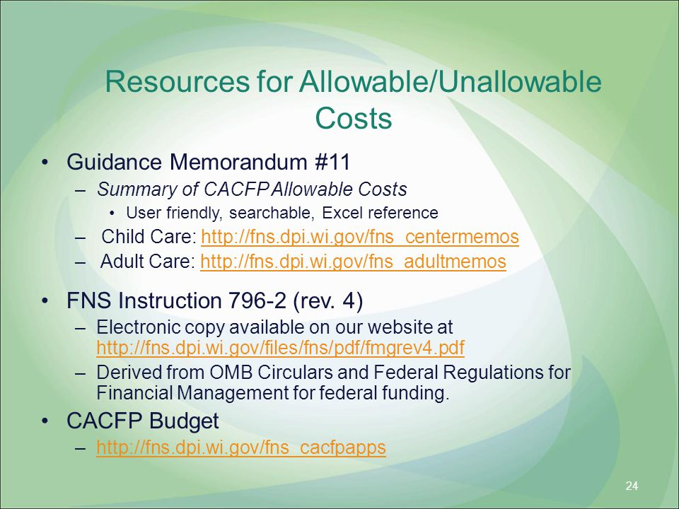 Resources for Allowable/Unallowable Costs