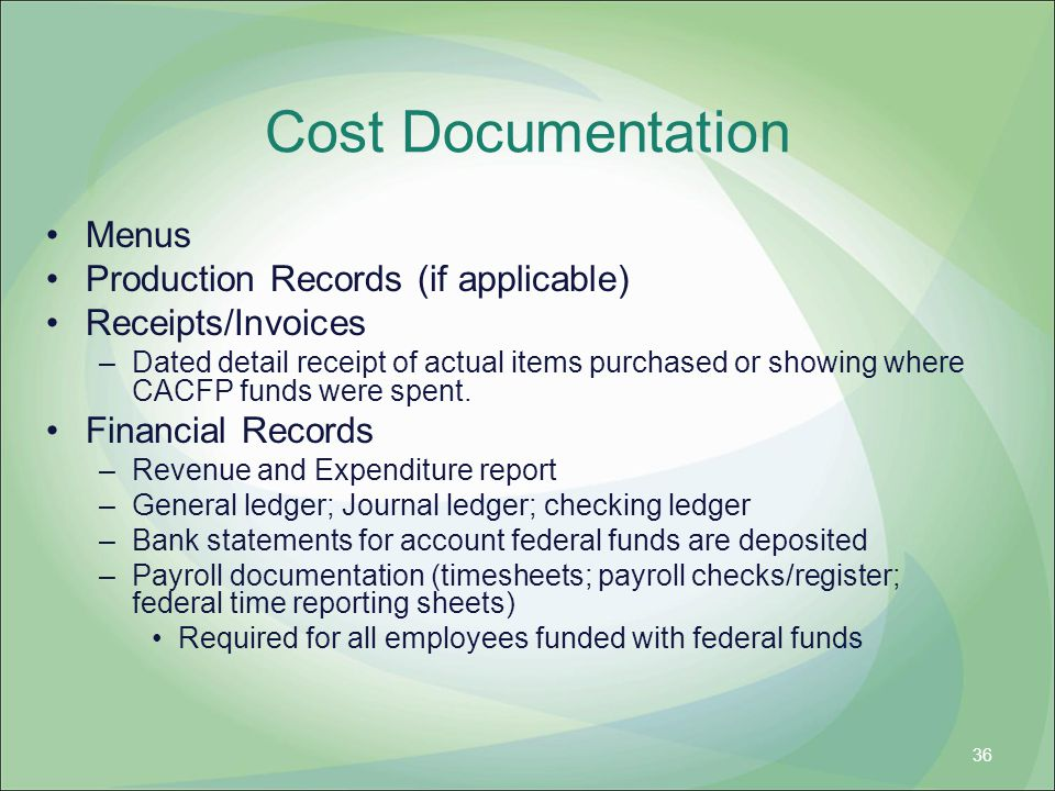 Cost Documentation Menus Production Records (if applicable)