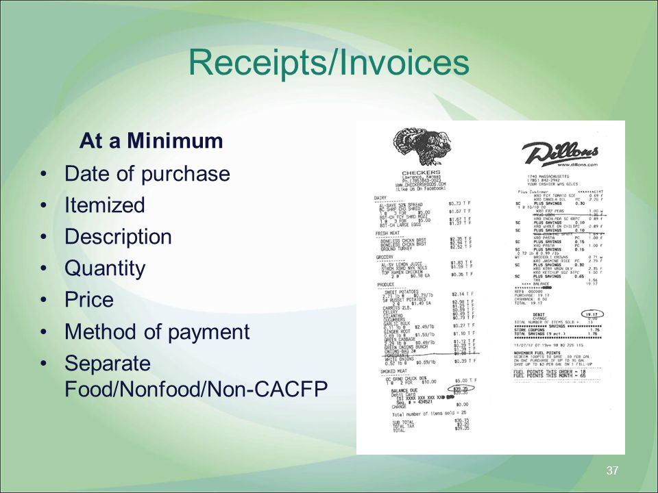Receipts/Invoices At a Minimum Date of purchase Itemized Description