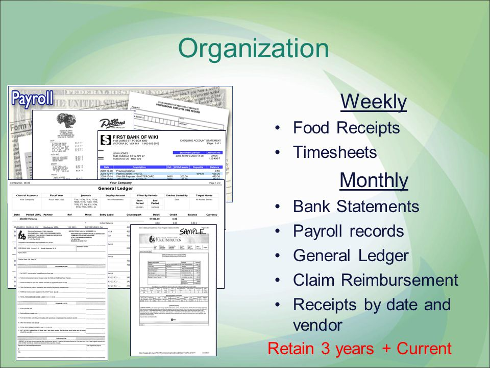 Organization Weekly Monthly Food Receipts Timesheets Bank Statements