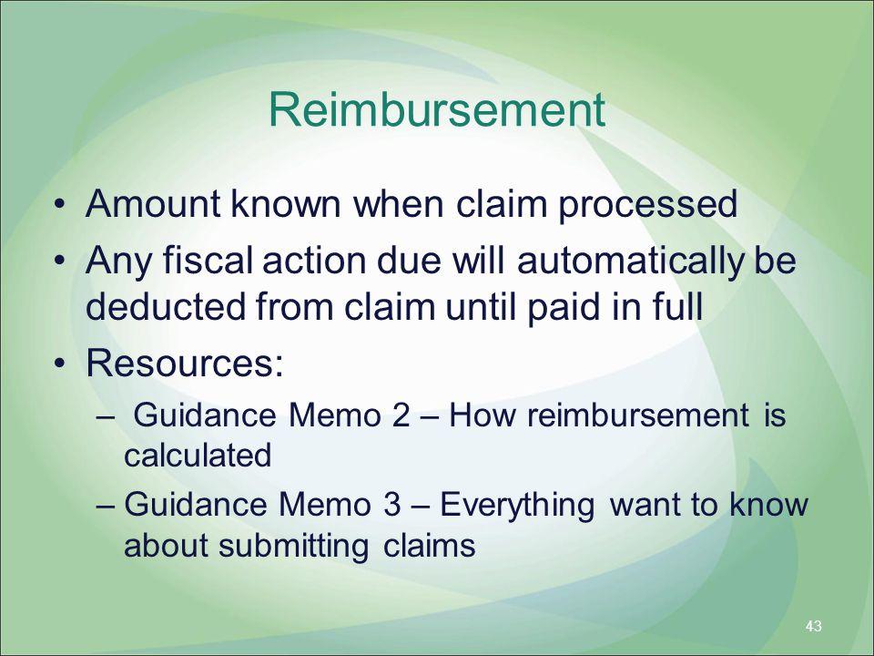 Reimbursement Amount known when claim processed
