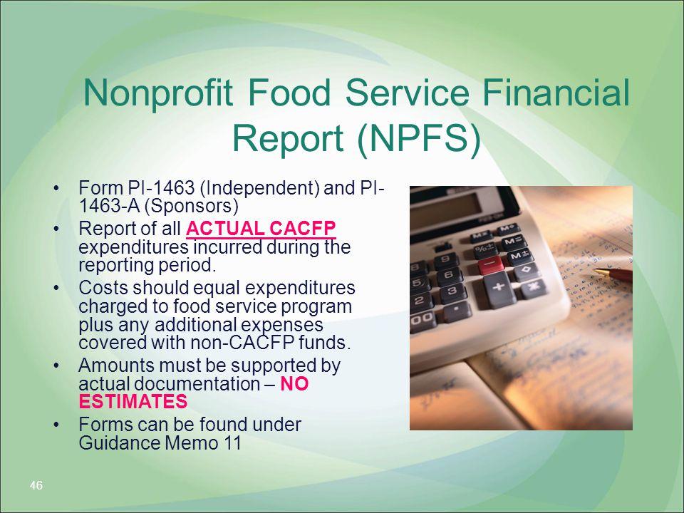 Nonprofit Food Service Financial Report (NPFS)