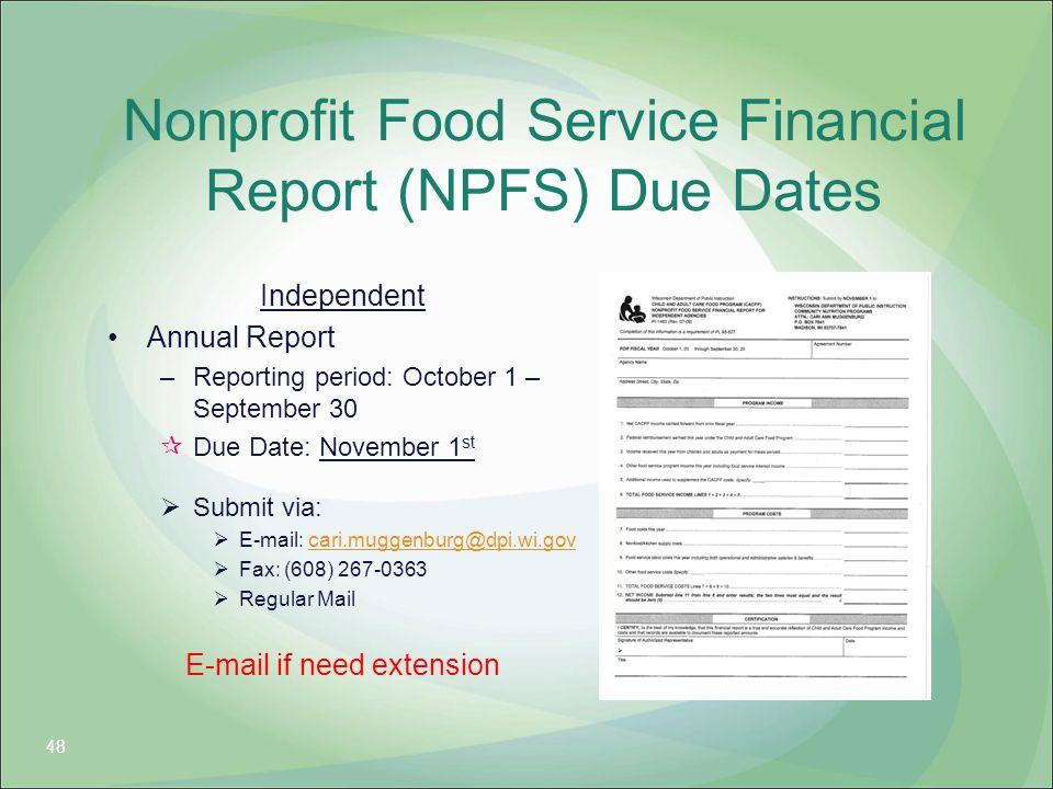 Nonprofit Food Service Financial Report (NPFS) Due Dates