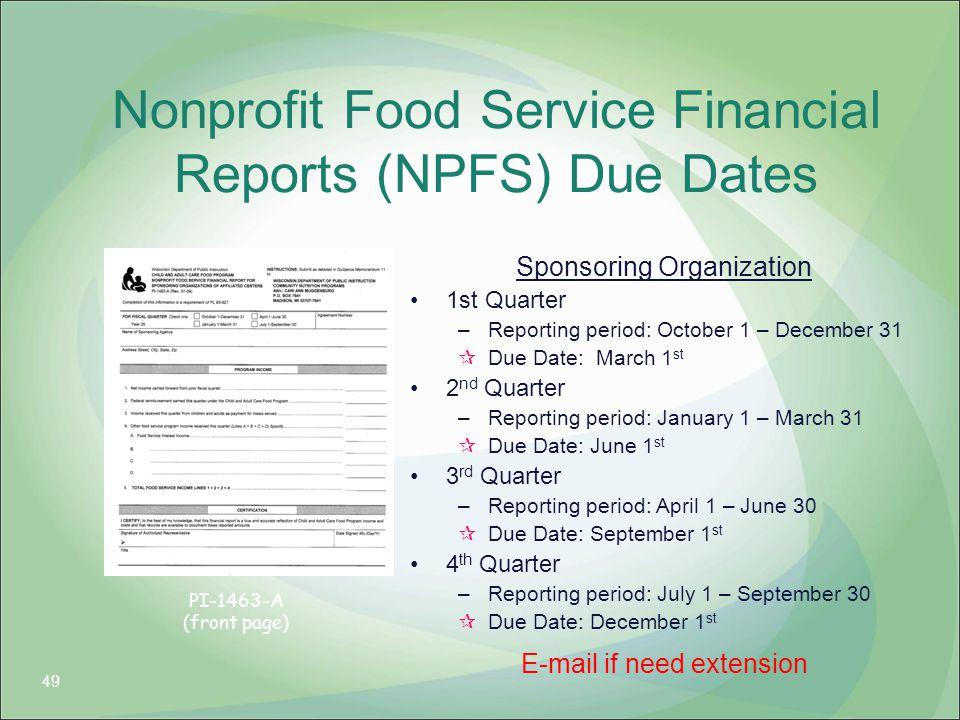 Nonprofit Food Service Financial Reports (NPFS) Due Dates