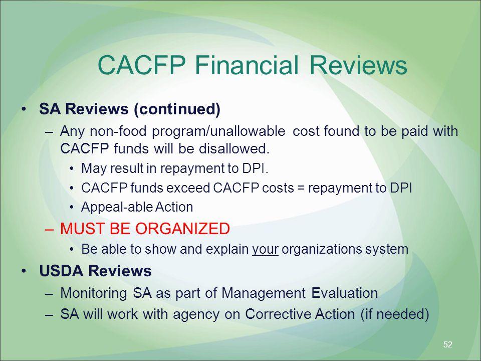CACFP Financial Reviews