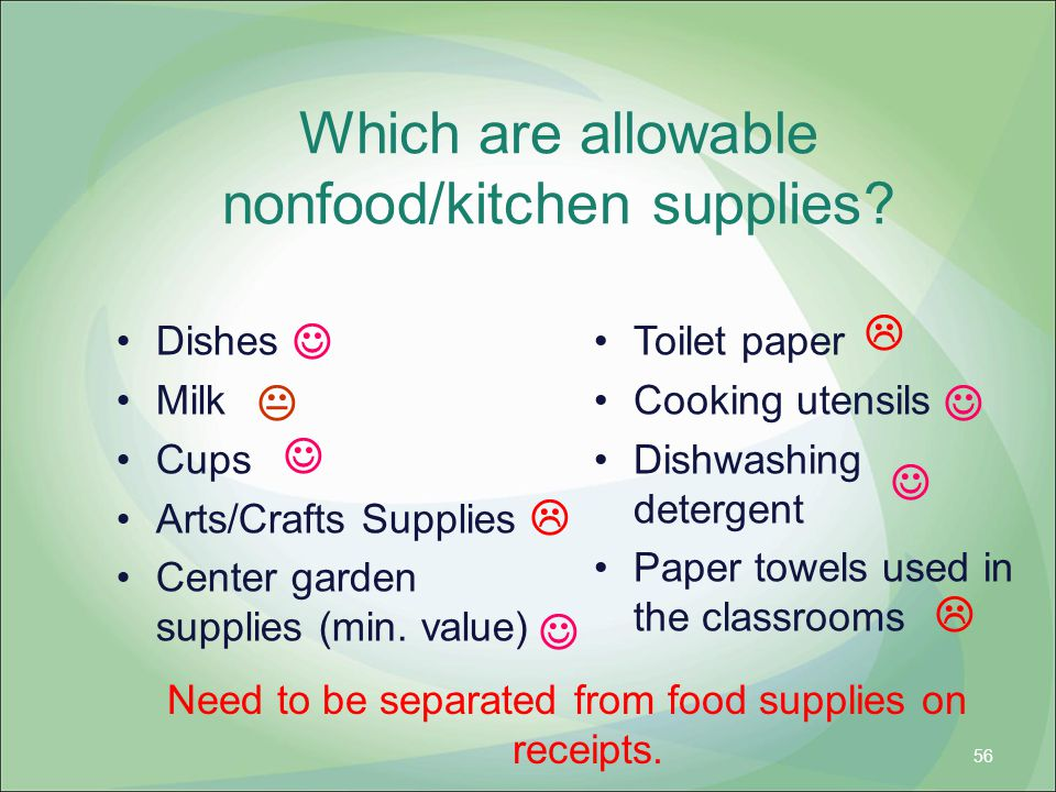 Which are allowable nonfood/kitchen supplies