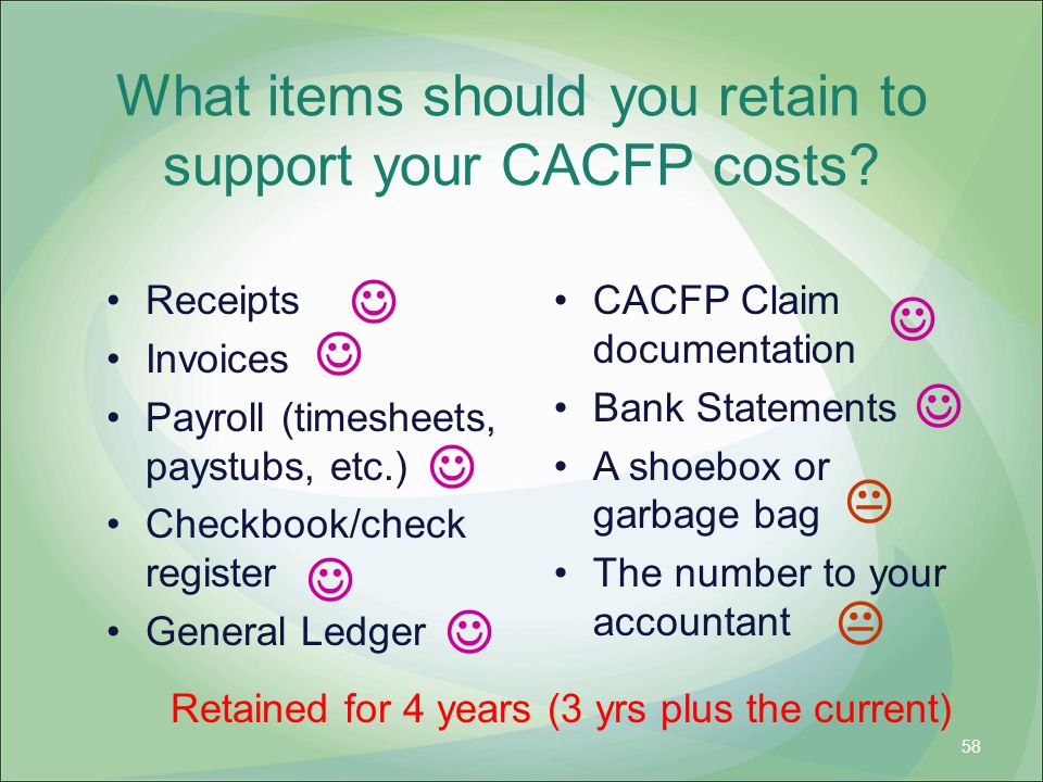 What items should you retain to support your CACFP costs
