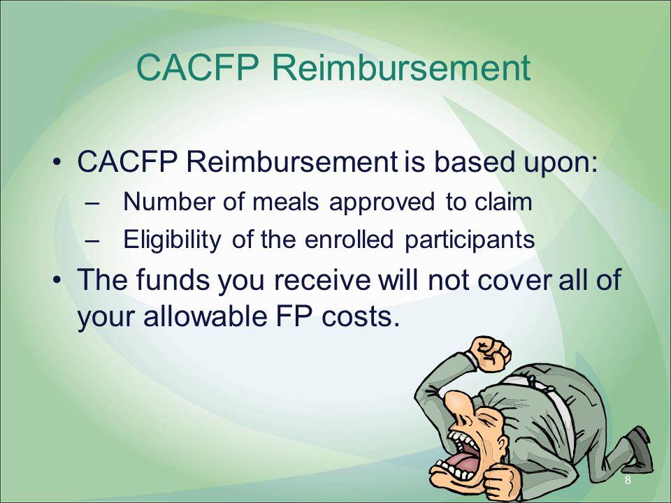 CACFP Reimbursement CACFP Reimbursement is based upon: