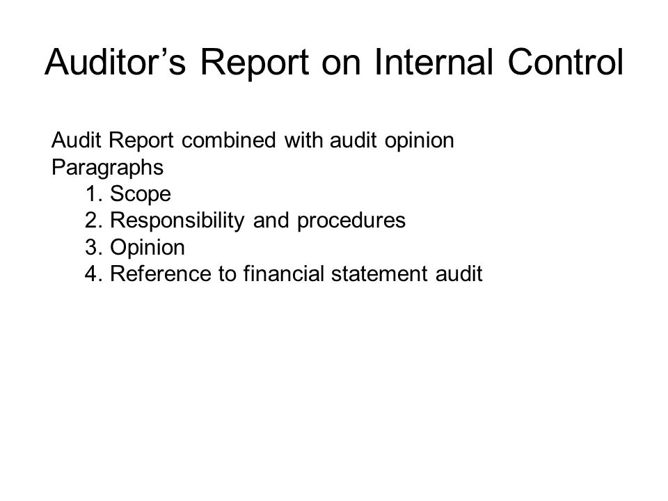 Auditor's Report on Internal Control