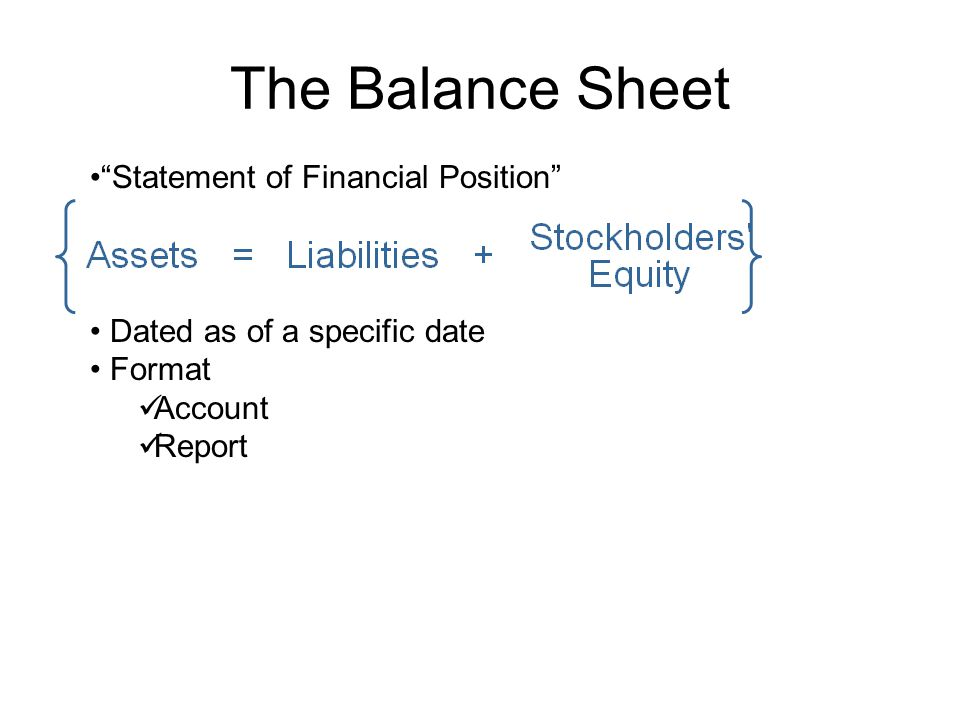 The Balance Sheet Statement of Financial Position