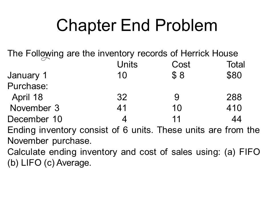 Chapter End Problem The Following are the inventory records of Herrick House. Units Cost Total. January 1 10 $ 8 $80.
