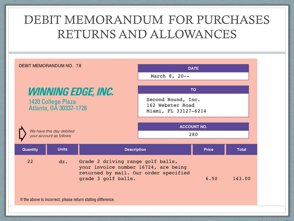 DEBIT MEMORANDUM FOR PURCHASES RETURNS AND ALLOWANCES