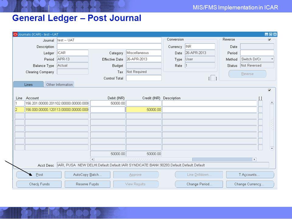 General Ledger – Post Journal