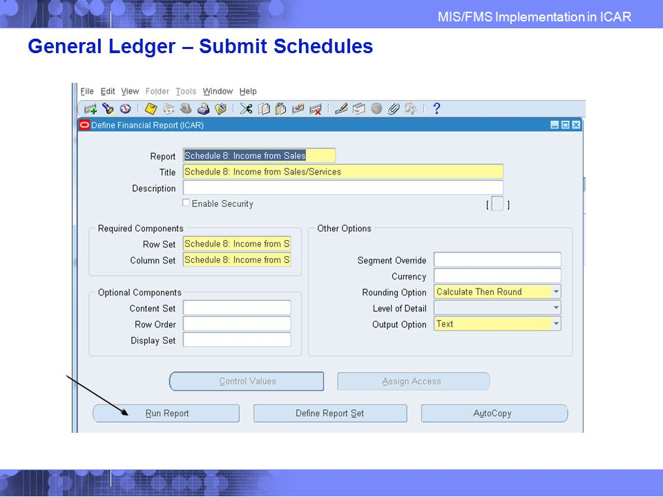 General Ledger – Submit Schedules