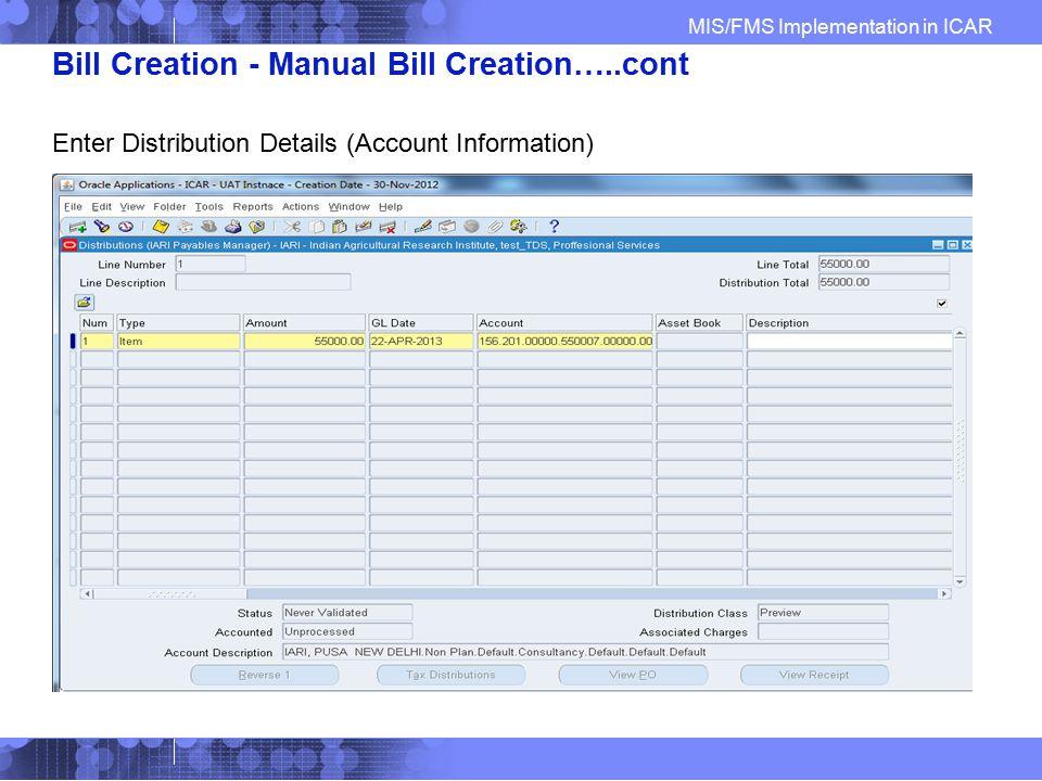 Bill Creation - Manual Bill Creation…..cont