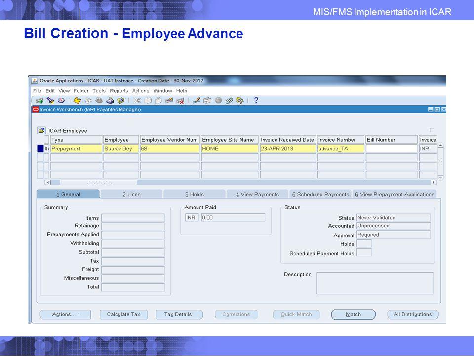 Bill Creation - Employee Advance