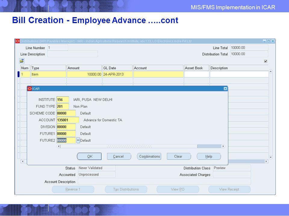 Bill Creation - Employee Advance …..cont