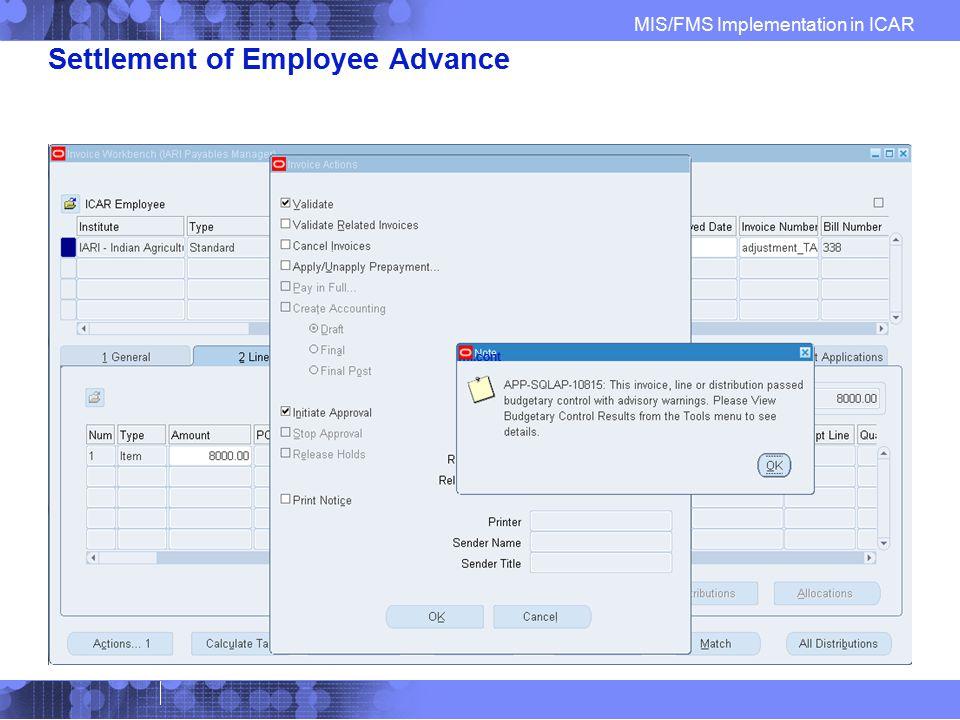 Settlement of Employee Advance