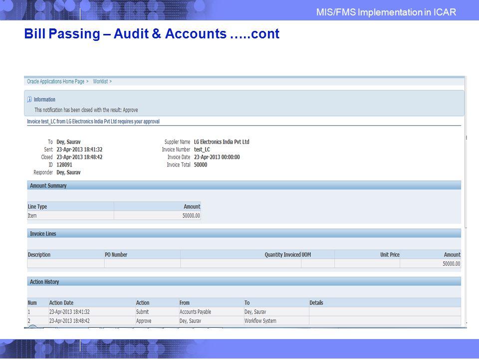 Bill Passing – Audit & Accounts …..cont