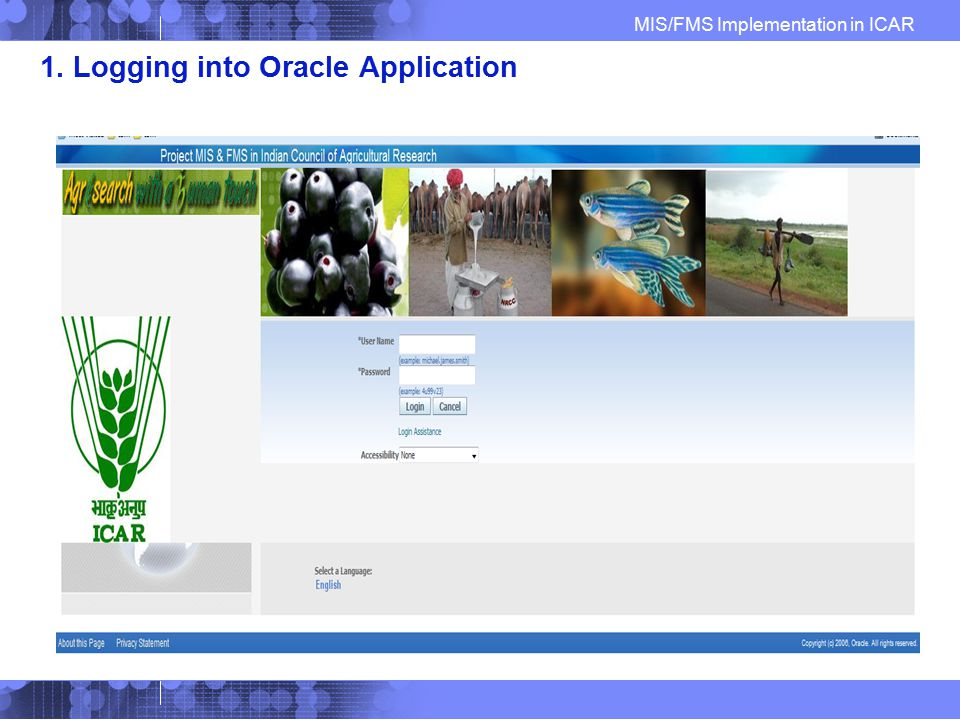 1. Logging into Oracle Application
