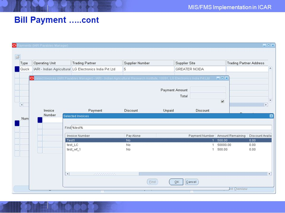 Bill Payment …..cont