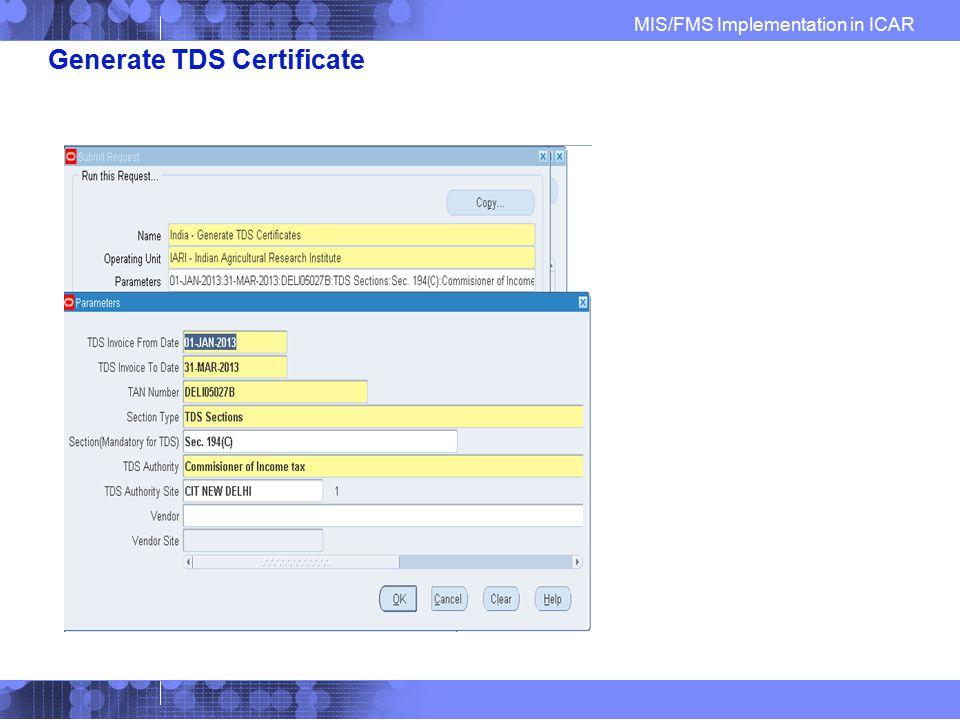 Generate TDS Certificate