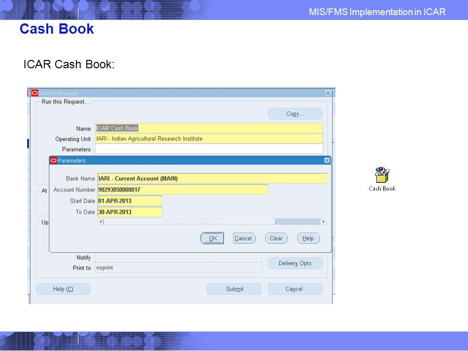 Cash Book ICAR Cash Book: