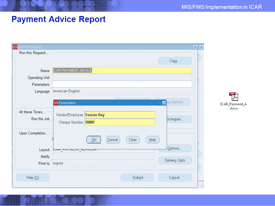 Payment Advice Report ICAR Payment Advice Report