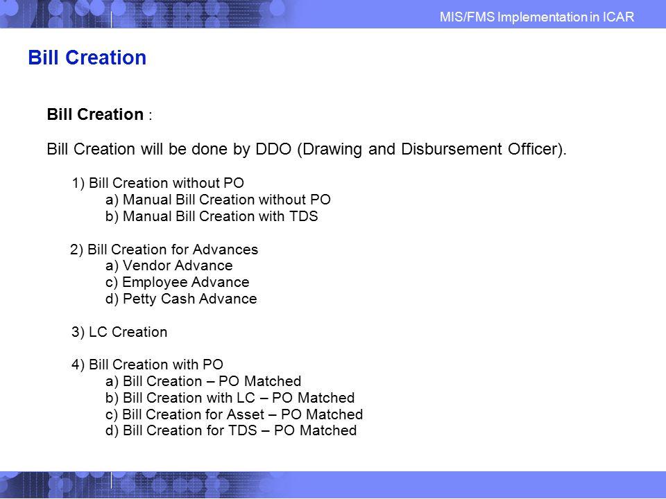 Bill Creation Bill Creation :